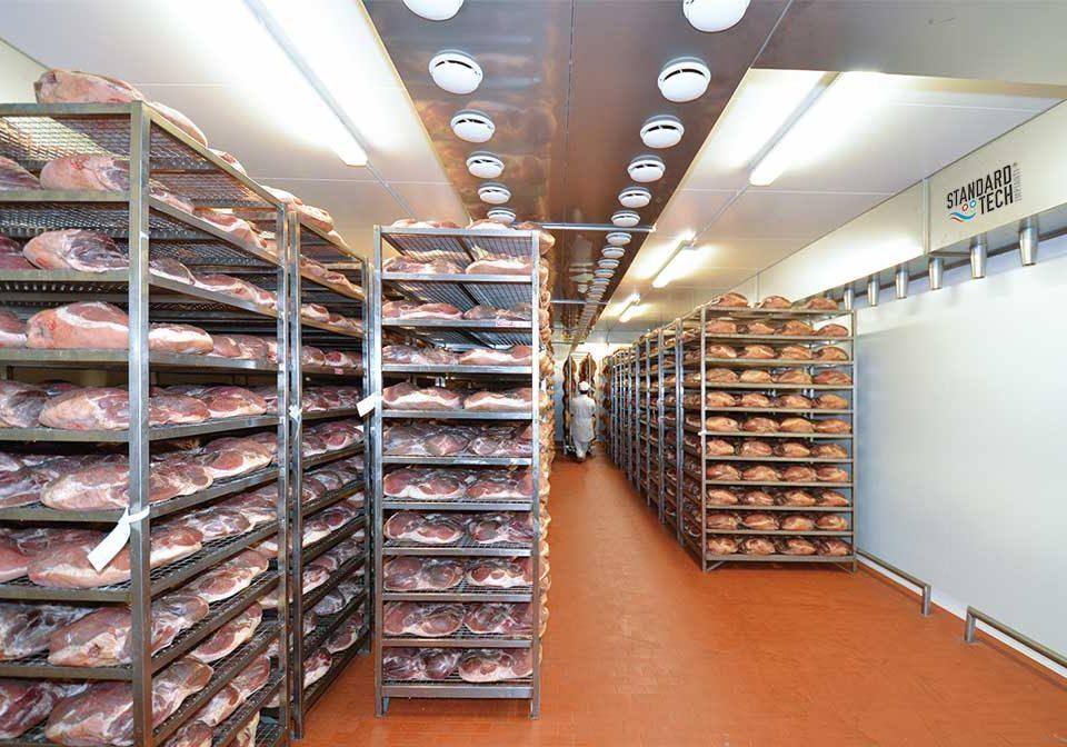 raw hams curing chamber